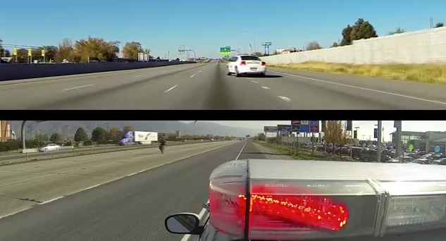 Screen shot from UHP video showing traffic slow down - click to play