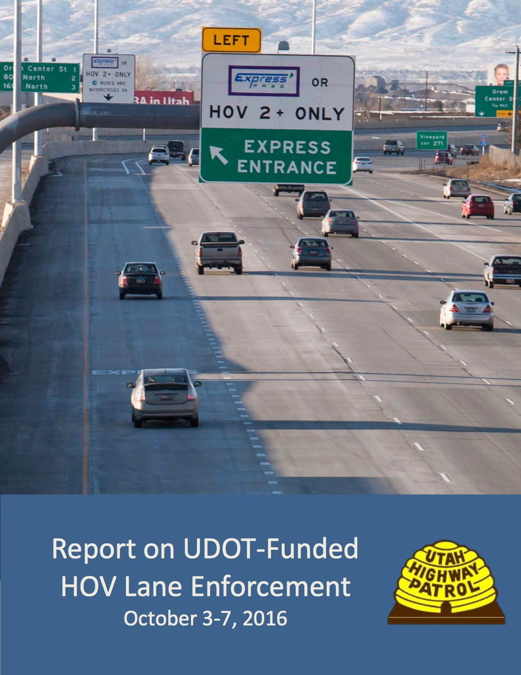 Screen cap of cover of Report on UDOT Funded HOV Lane Enforcement
