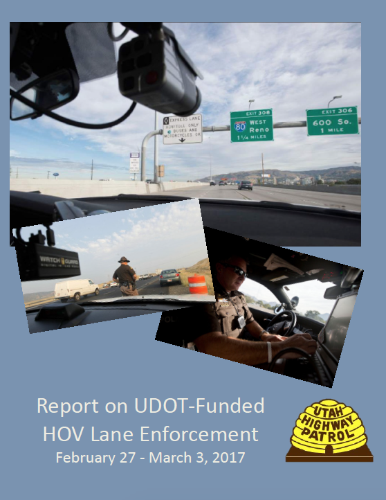 Screen cap of cover of UDOT HOV Enforcement Feb Mar 2017