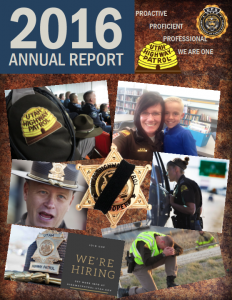 Screen cap of cover of UHP's annual report features troopers in action during the year.