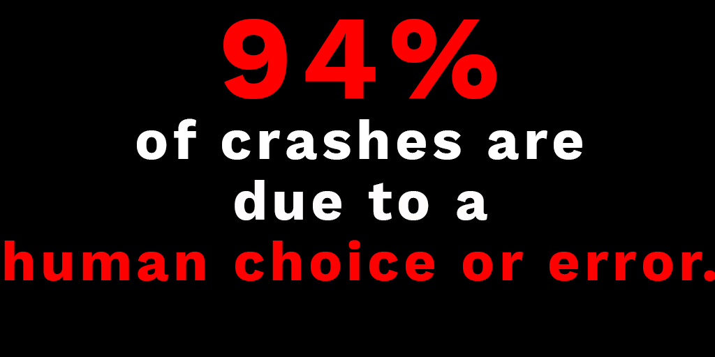 94% of crashes are due to human error