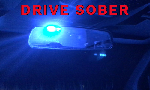 Drive sober - police lights in mirror