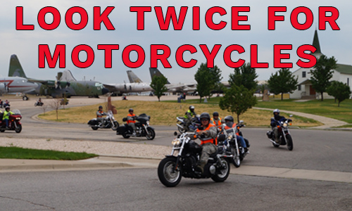 Look twice for motorcycles - picture of riders by Hill AFB museum.