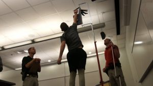 A candidate for UHP performs the vertical jump