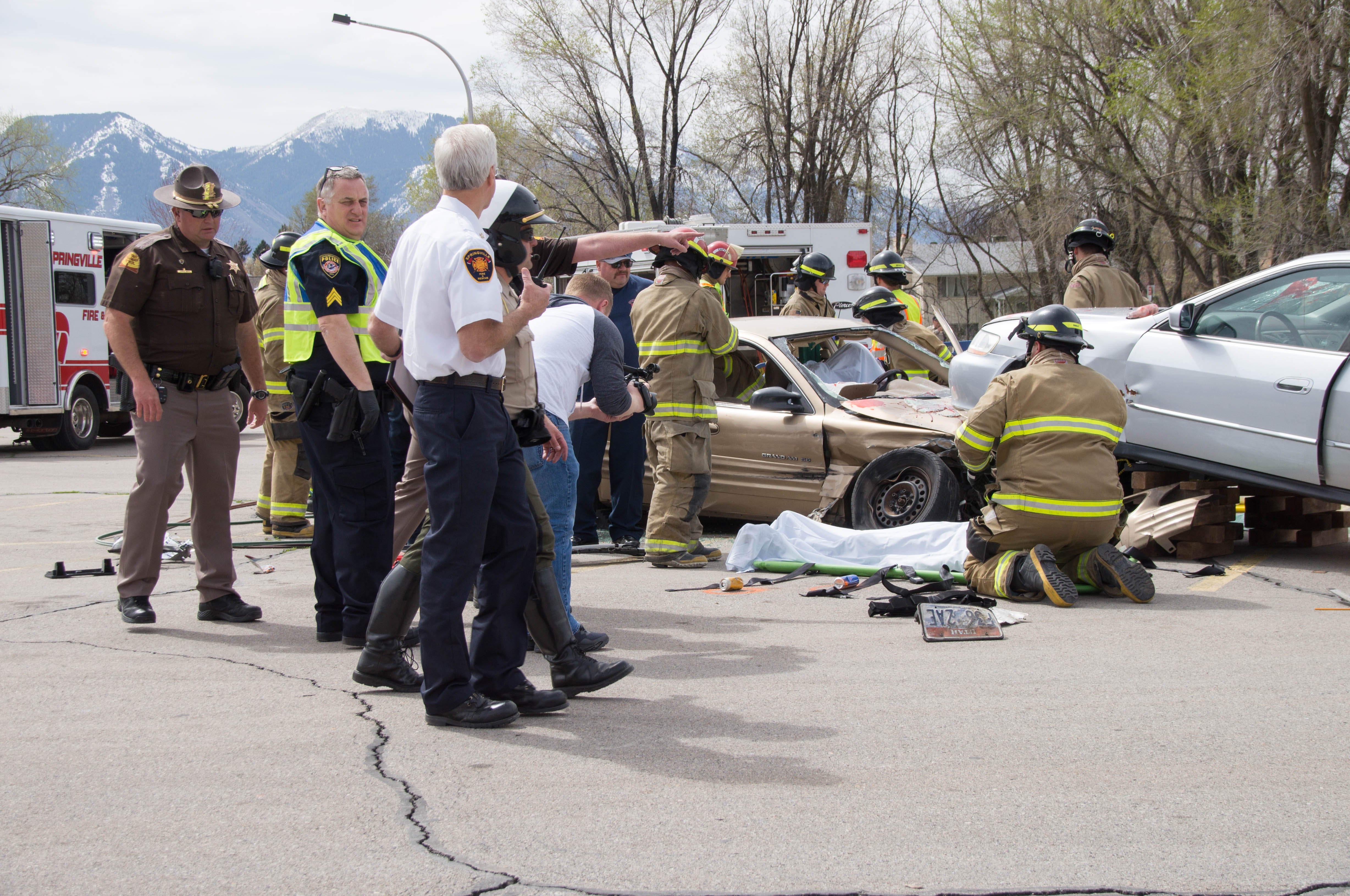 UHP, Springville PD, SPringville Fire and Rescue, Utah County Sheriff's Office and Lifeflight teamed up to conduct a mock crash at Springville High School on April 10th.