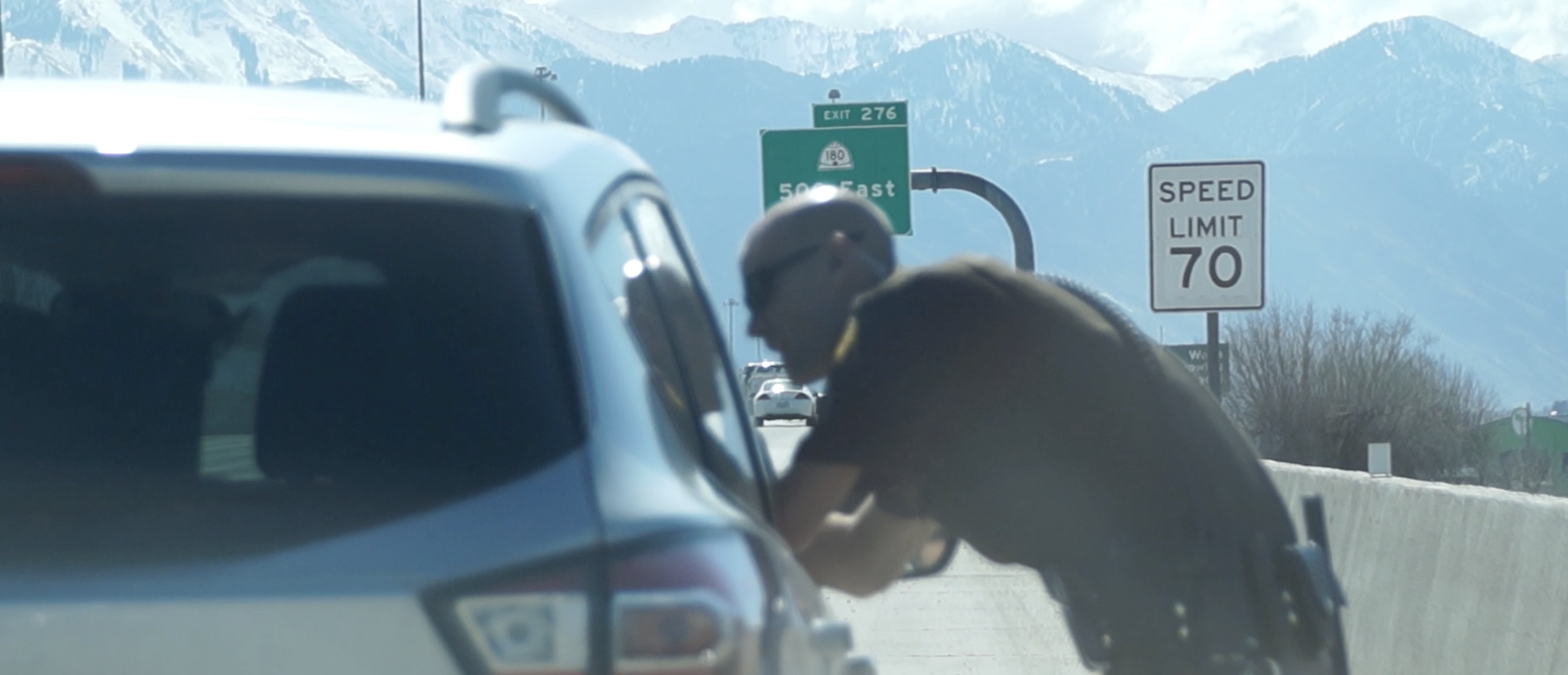 UHP trooper conducting a traffic stop.