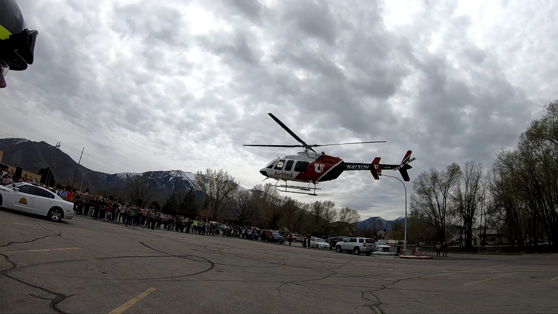 Airmed helo taking off. UHP, Springville PD, SPringville Fire and Rescue, Utah County Sheriff's Office and Lifeflight teamed up to conduct a mock crash at Springville High School on April 10th.