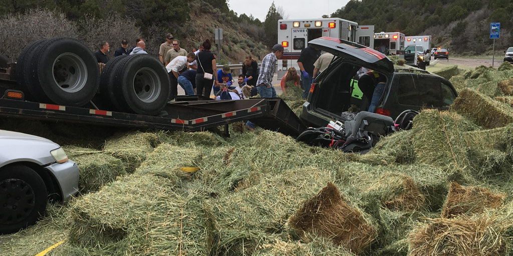 Improperly secured hay bales led to a crash that resulted in 8 people being hospitalized.