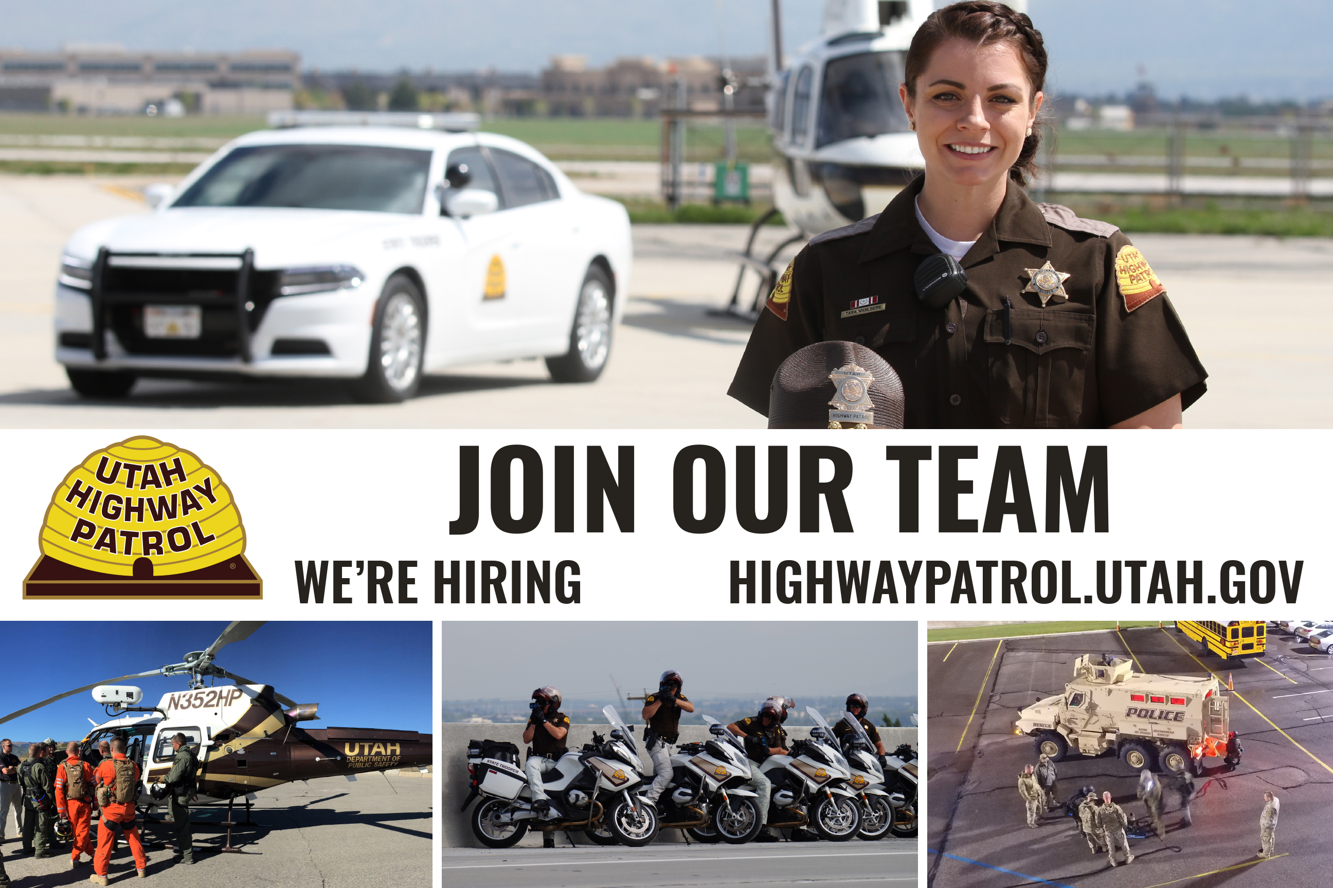 Join our team - the Utah Highway Patrol is hiring.