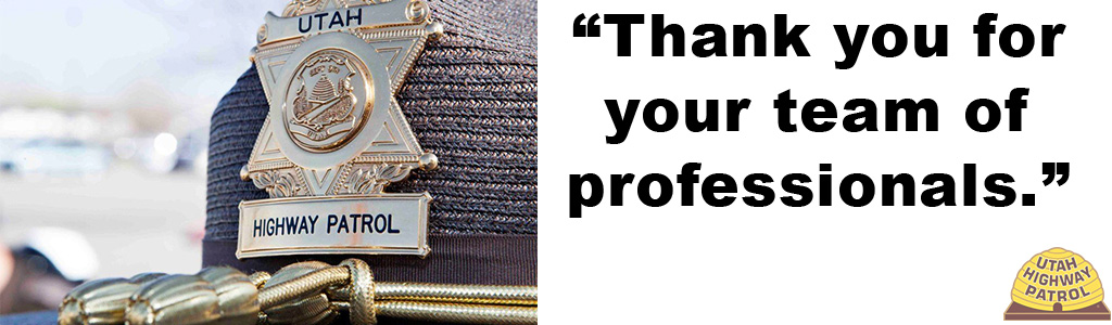"Text reads: ""Thank you for your team of professionals."" and image shows UHP hat with a close up on the badge on the front of it."