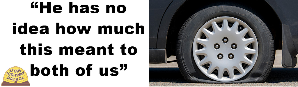 "Text on left reads ""He has no idea how much this meant to both of us"" and image on right shows a flat tire."