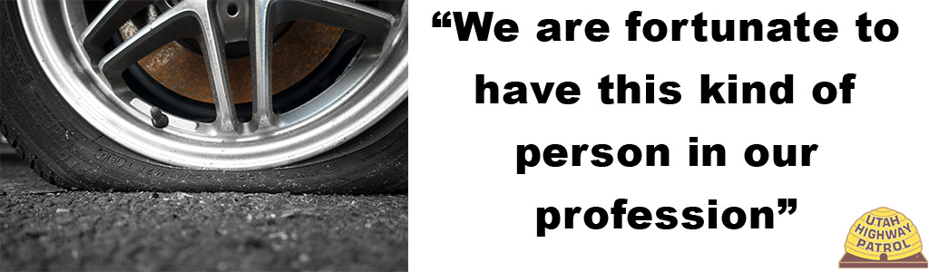 "Image on left shows a close up of a flat tire and text on right reads ""We are fortunate to have this kind of person in our profession."""
