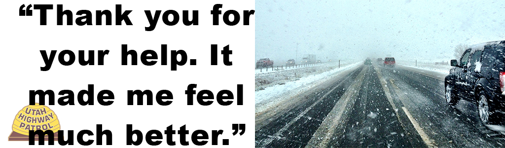 Image shows cars driving on a snowy road and text reads thank you for your help. It made me feel much better.