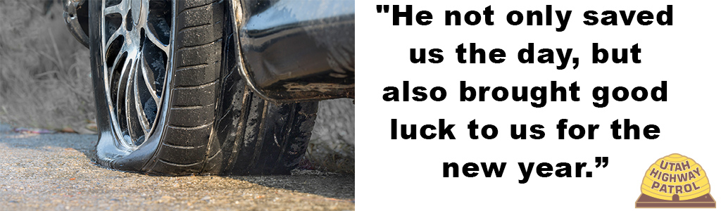 "Image shows a flat tire and text reads ""He not only saved us the day, but also brought good luck to us for the new year."