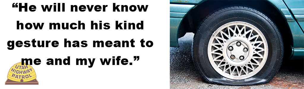 Image shows a flat tire and text reads He will never know how much his kind gesture has meant to me and my wife.