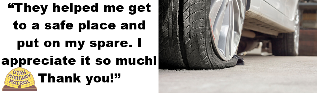 "Image shows a close up of a flat tire and text reads ""They helped me get to a safe place and put on my spare. I appreciate it so much. Thank you!"""