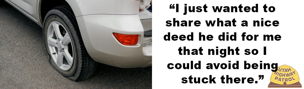 "Image shows a flat tire and text reads ""I just wanted to share what a nice deed he did for me that night so I could avoid being stuck."""
