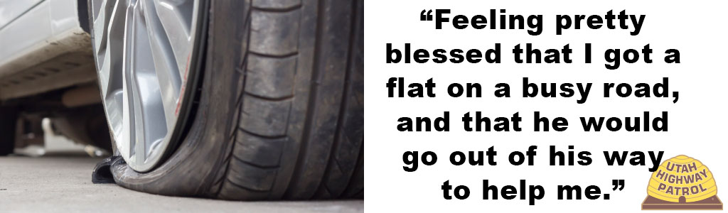 "Image shows a flat tire and text reads ""Feeling pretty blessed that I got a flat on a busy road and that he would go out of his way to help me."""