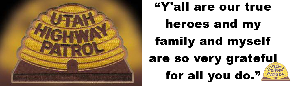 "Image shows a UHP patch and text reads ""Y'all are our true heroes and my family and myself are so very grateful for all you do."""